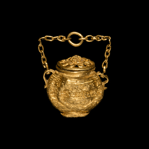 Gold Miniature Vessel with Lid