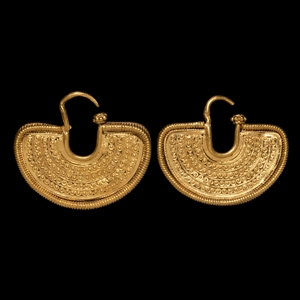 Western Asiatic South Arabian Gold Crescent-Shaped Earring Pair