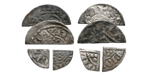 English Medieval Coins - Henry II to Henry III - Cut Halfpennies and Farthing [8]