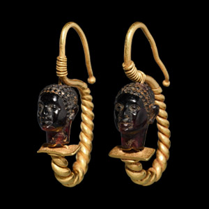 Gold Earring Pair with Nubian Heads