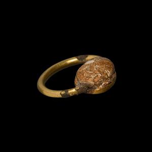 Gold Framed Scarab Ring