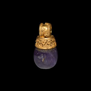 Greek Hellenistic Gold Pendant with Amethyst Gemstone