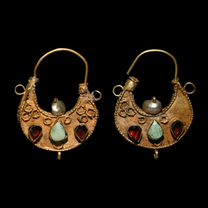 Byzantine Gold Filigree Earrings with Garnets and Turquoise