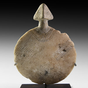 Anatolian Decorated Marble Idol
