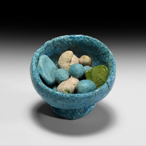 Blue Glazed Bowl with Offerings
