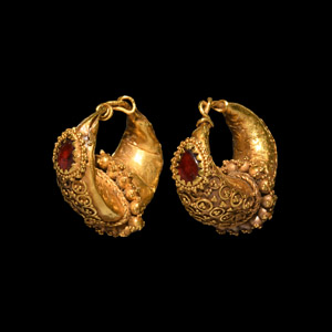 Gold Boat-Shaped Earring Pair