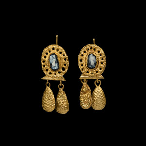 Gold and Cameo Earrings