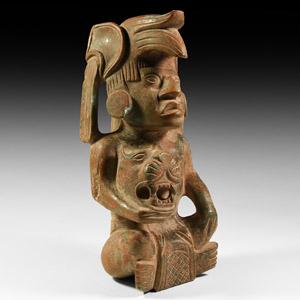 Mayan Jade Seated Jaguar Warrior Figure