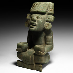 Aztec Jadeite Seated Figure with Offering Bowls
