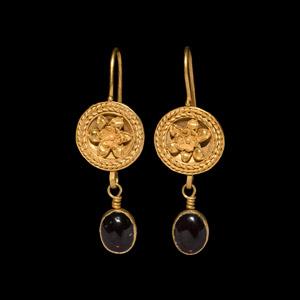 Gold Filigree Earrings with Garnet Drops