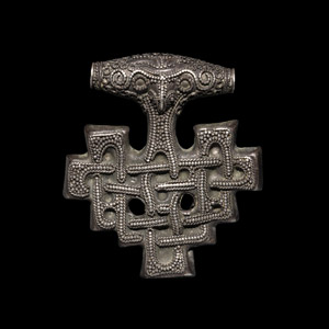 Silver Entwined-Beast Thors Hammer Pendant