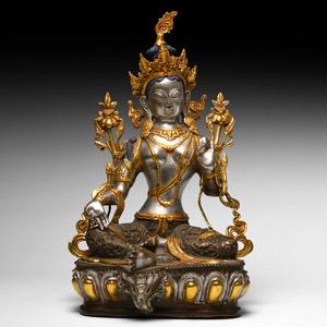 Gilt Bronze Seated Green Tara as White Tara Figure