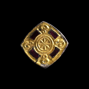 Silver Gilt Square Brooch with Garnets