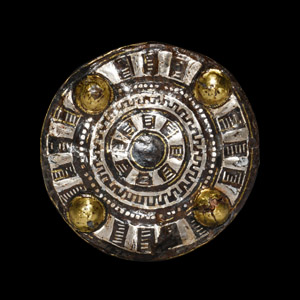 Silver Brooch with Gilt Bosses