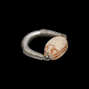 Egyptian Scarab in Silver Ring