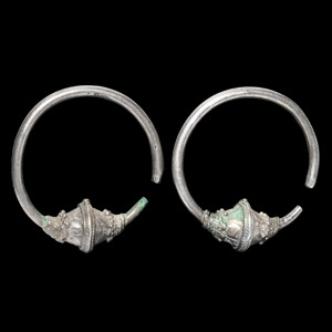 Silver Temple Earring Pair