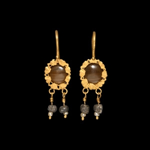 Gold Earrings with Drops
