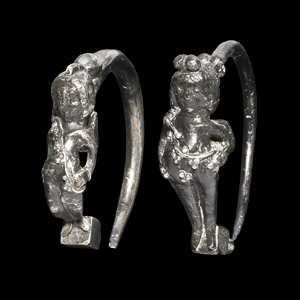 Silver Earring Pair with Eros