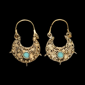 Gold Earring Pair with Turquoise