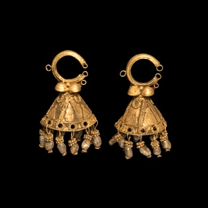 Parthian Gold Bell-Shaped Earrings with Drops