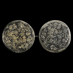 Silver and Niello Disc Brooch Pair