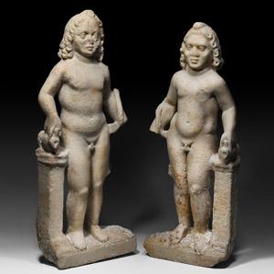Marble Harpocrates Statue Pair
