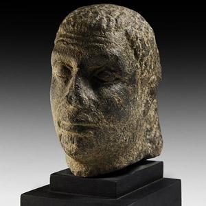 Black Granite Head of a Dignitary