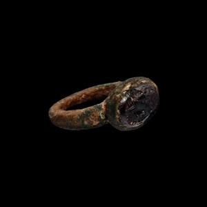 Sassanian Gemstone in Bronze Ring