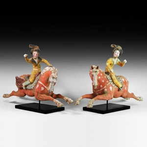 Large Chinese Tang Terracotta Polo Player Pair