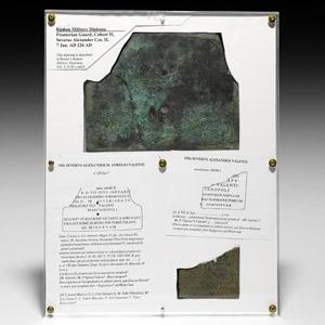 Military Diploma of Praetorian Guard - Aurelius Ulpius Valens