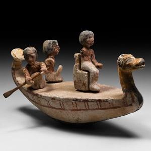 Model Boat with Oarsmen