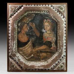 Late Renaissance Fresco with Judith Beheading Holofernes