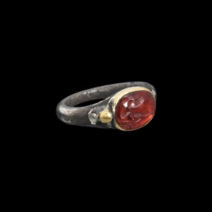 Silver and Gold Ring with Victory Gemstone