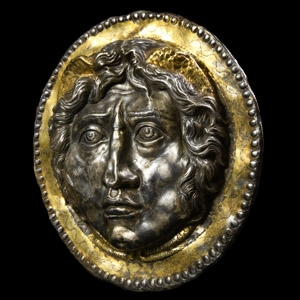 Roman Gilt Silver Phalera with Winged Head of Medusa