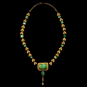 Gold and Emerald Necklace Element Set