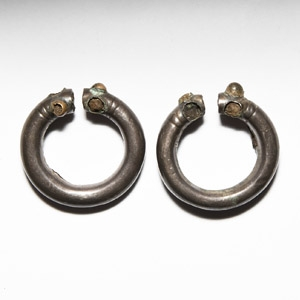 Sassanian Silver Earring Pair