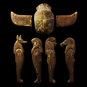 Egyptian Four Sons of Horus with Winged Scarab