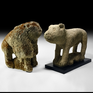 Medieval Lion and Bear Statue Pair