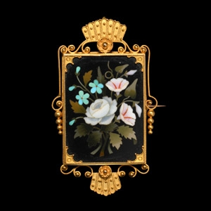Italian Gold Mounted Pietra Dura Floral Brooch Locket