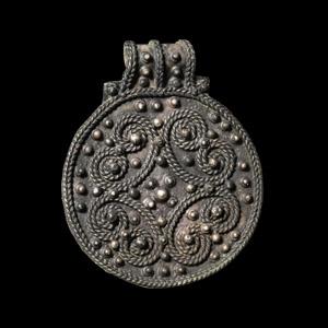 Viking Silver Pendant with Filigree Scrolls