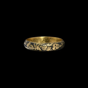 Queen Anne Gold (Death) is no Partyng Memento Mori Ring with Skull and Skeleton