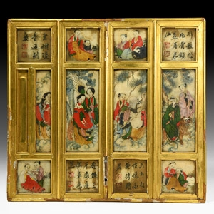 Chinese Gilt Framed Paintings on Stone