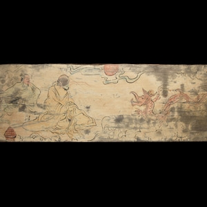Chinese Painted Panels with Men and Dragon