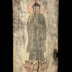 Chinese Painted Panel with Buddha