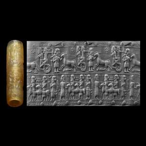 Achaemenid Cylinder Seal with Battle Scene