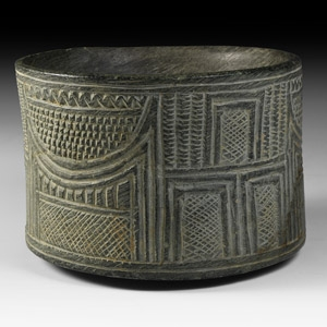 Western Asiatic Bowl with Hut Motif and Geometric Design