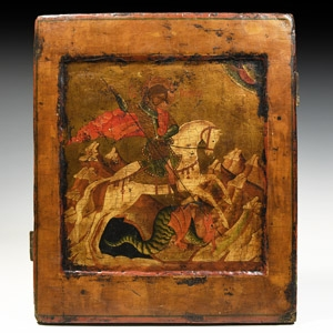 Russian Icon of St George and the Dragon