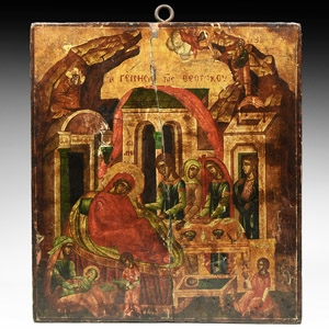 Greek Icon with Birth of the Mother of God