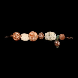 Indus Valley Etched Carnelian Bead String