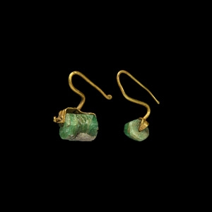 Gold and Emerald Earring Pair